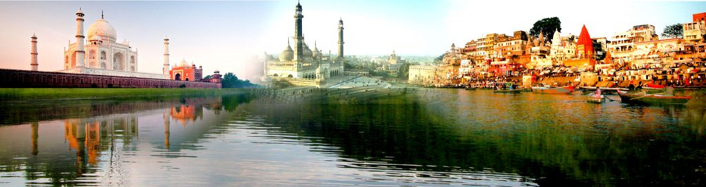 A collage of pictures from Agra, Lucknow and Varanasi