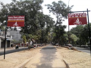 a picture showing the finished patch of cycle track for citizens of lucknow.