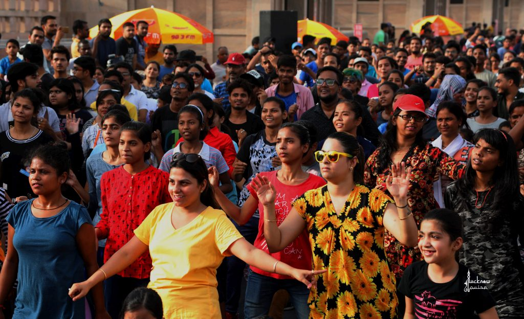 A dance/aerobics session in progress during the Happy Streets event in Lucknow on a Sunday morning.