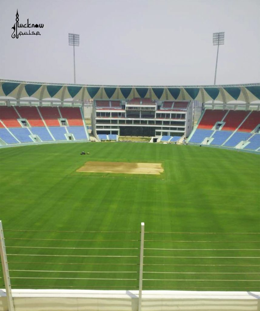 Picture of the newly built Ekana International Lucknow Cricket Stadium at Lucknow. Near Shaheed Path and Sultanpur Road.